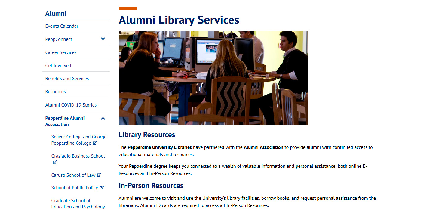 university online library services alumni