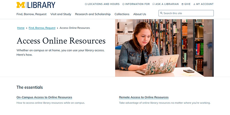 access to online library services umich